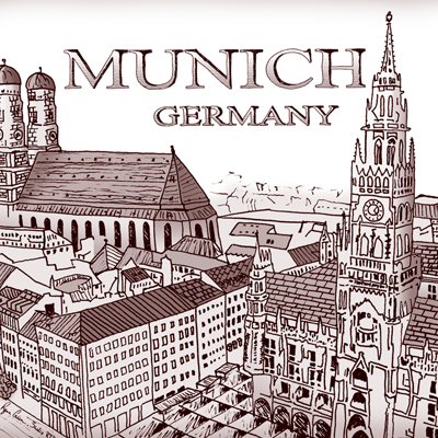 Murgitroyd & Co. Pen and Ink Illustration of Munich for Client Coffee Mugs
