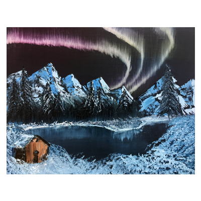 Northern Lights Acrylic Painting (Bob Ross)