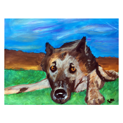 German Shepherd Portrait Acrylic Painting