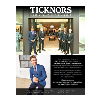 Ticknors Men's Clothier Grand Opening Flyer Design