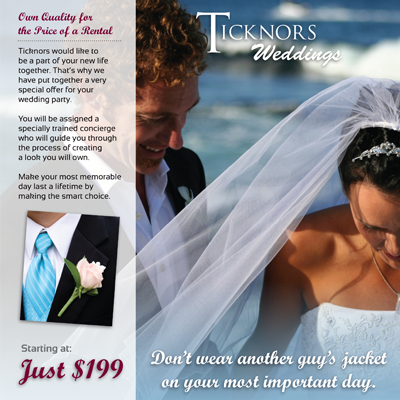 Ticknors Men's Clothier Gatefold Brochure Design