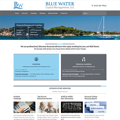 Blue Water Capital Management Website Design
