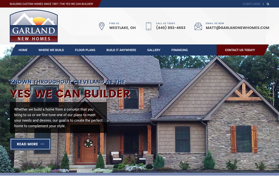 Garland New Homes Website Design Main Image