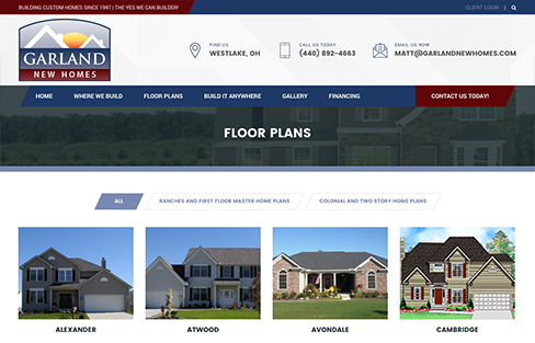 Garland New Homes Website Design Thumbnail 1