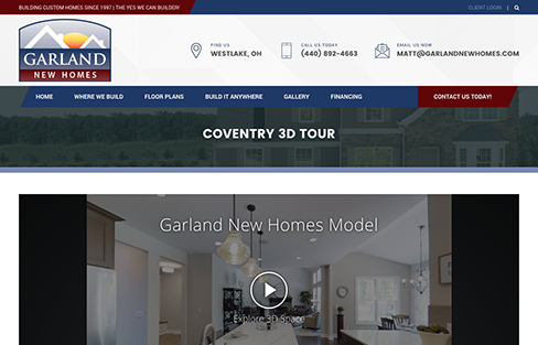 Garland New Homes Website Design Thumbnail 2