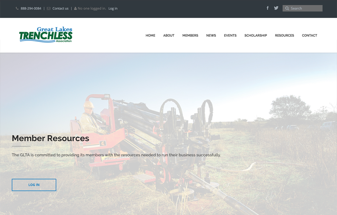 Great Lakes Trenchless Association Website Design Main Image