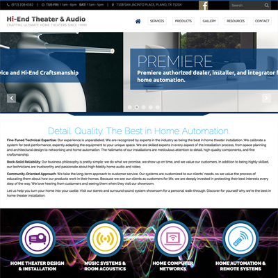 Hi-End Theater & Audio Website Design | Plano, TX