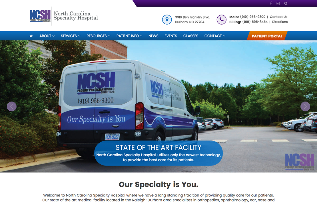 North Carolina Specialty Hospital Website Design Screen Shot Main