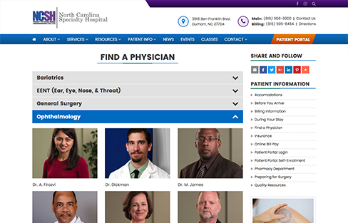 North Carolina Specialty Hospital Website Design Screen Shot 1