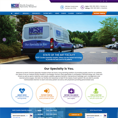 North Carolina Specialty Hospital Website Design