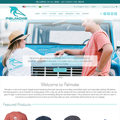 Apparel Website Design for Palmoke Supply Company