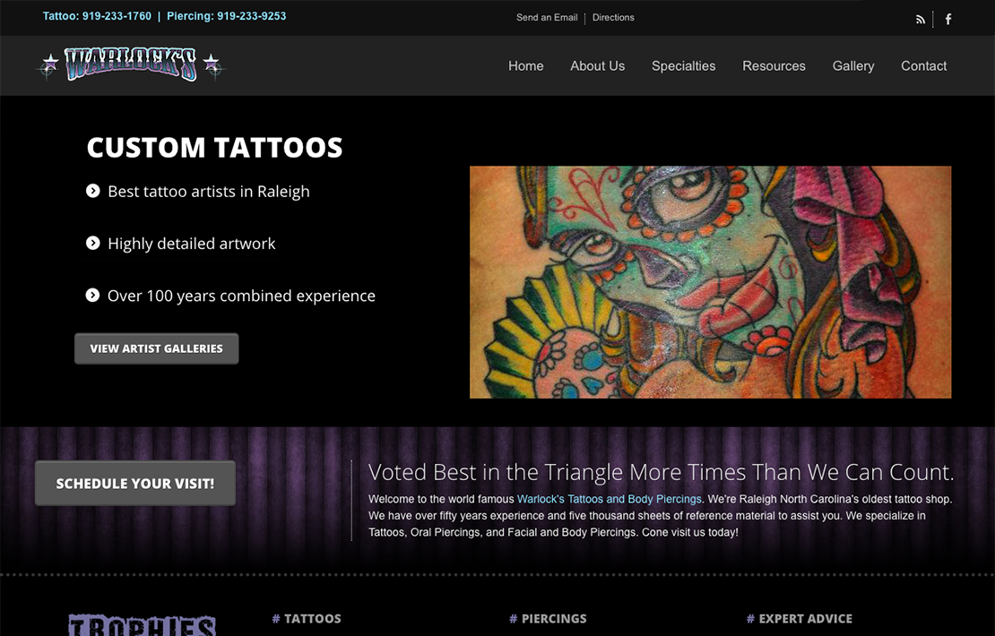 Warlock's Tattoo and Body Piercing Website Design Main Image