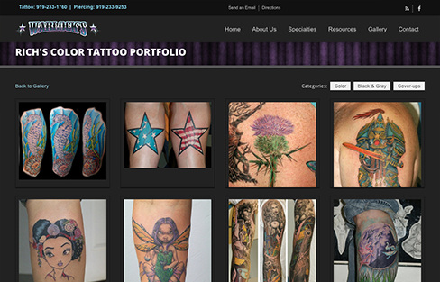 Warlock\'s Tattoo and Body Piercing Website Design